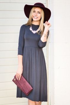 Ruffle Neck Dress In Charcoal - My Sisters Closet