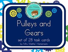 Pulleys and Gears Task Cards Science Lessons, Teaching Science, Science Activities, Science Ideas, Pulleys And Gears, Force And Motion, 10 Commandments, Simple Machines, Stem Challenges