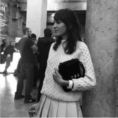 Alexa Chung before J.W. Anderson. #LFW | Oversized sweater + pleated schoolgirl skirt = :)