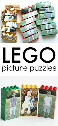 LEGO Picture Puzzles. Personalize the simple LEGO pieces with photos with this creative idea! These are so fun for kids of all ages!