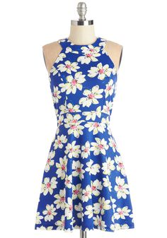 Daytime Date Dress. A date that begins with breakfast and lasts until the sun dips below the horizon is the perfect occasion on which to wear this adorable blue dress! #blue #modcloth