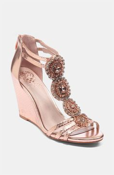 reception shoes Vince Camuto Zimily Sandal available at Pretty Shoes, Beautiful Shoes, Cute Shoes, Me Too Shoes, Pink Sandals, Shoes Sandals, Rose Gold Wedge Sandals, Rose Gold Wedges, Heels