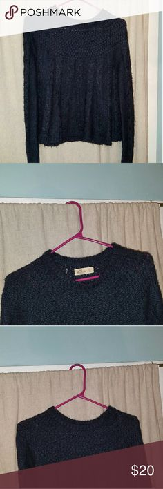 Blue Hollister knit sweater Navy Blue No stains/tears ***MAKE ME AN OFFER*** Hollister Sweaters
