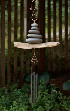 Wind Chime Driftwood Beach Stone Brass Chimes West Coast Garden Art by CoastChimes on Etsy