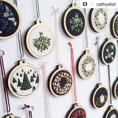 Just the most beautiful #christmasdecorations I have ever come across! Discovered at @thecraftedit #market today in #islington . Repost of @cathyeliot who hand stitches these little beauties! #embroidery #xmas #christmas #stitched #baubles #decorations