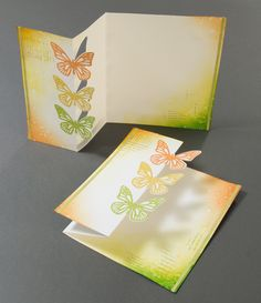 handmade card from Elina's Arts And Crafts, With Love ... tri-fold card with half-cut die cut butterflies ... great card ...