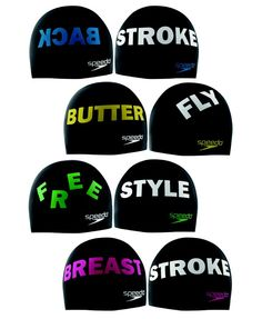 Swimming Stroke Swim Caps from Speedo, one for each stroke; Back Stroke, Breast Stroke, Free Style and Butter Fly I Love Swimming, Swimming Diving, Swimming Gear, Swimming Clothes, Olympic Swimming, Swimmer Girl Problems, Olympic Gymnastics, Olympic Games, Swimming Strokes