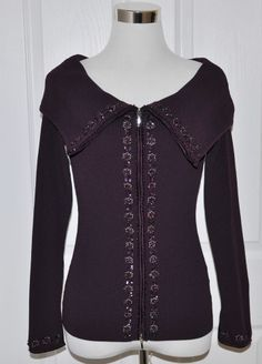 CACHE Dark Purple Ribbed Stretch Embellished Zip Front Shawl Collar Top - M #Style #Fashion #Deal