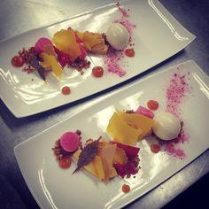 Pumpkin & cranberries ...pumpkin panna cotta , cranberry ice , butternut squash  paper with mulling spice ice cream #pastry#dessert#madronamanor#holidays#thanksgiving