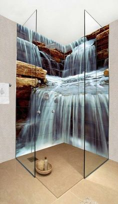 Kreative Fotofliesen von Okhyo duschkabine Creative photo tiles of Okhyo shower cabin Bad Inspiration, Bathroom Inspiration, Creative Inspiration, Dream Bathrooms, Beautiful Bathrooms, Photo Tiles, Waterfall Shower, Bathroom Tile Designs, Bathroom Ideas