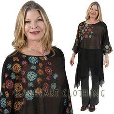 SunHeart Clothing lagenlook SILK  BOHO tunic by SUNHEARTCLOTHING