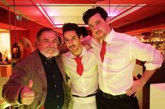 The Hosts: Erick Zott & Chris Karpozilos with RR's bartender Tiago www.latinnightsclub.at