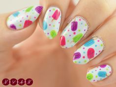 Popsicle Party nail art by Becca B Food Nail Art, Gel Nail Art, Neon Nails, Love Nails, Ruby Nails, Nail Polish Designs, Nail Art Designs, Nails For Kids, Party Nails