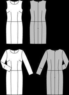 Schnittmuster: Etuikleid - Etuikleider - Kleider - Damen - burda style