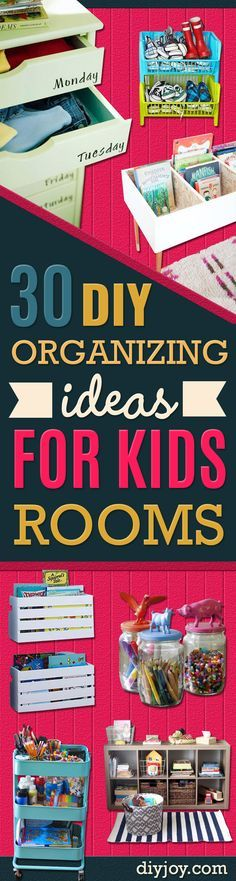 DIY Organizing Ideas for Kids Rooms - Easy Storage Projects for Boy and Girl Room - Step by Step Tutorials to Get Toys, Books, Baby Gear, Games and Clothes Organized - Quick and Cheap Shelving, Tables, Toy Boxes, Closet Tips, Bookcases and Dressers - DIY Projects and Crafts http://diyjoy.com/diy-organizing-ideas-kids-rooms