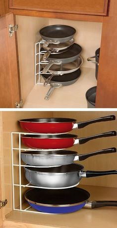 Such a clever way to organize pans and pots in the kitchen! Saves so much frustration! 55 Genius Storage Inventions That Will Simplify Your Life -- A ton of awesome organization ideas for the home (car too!). A lot of these are really clever storage solutions for small spaces.
