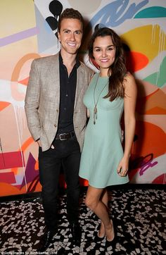 Loved up: Samantha Barks partied with her man, former Corrie actor, Richard Fleeshman at the SushiSamba restaurant party in London on Tuesday night