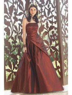 Taffeta Strapless Draped Bodice Floor-Length Bridesmaid Dress