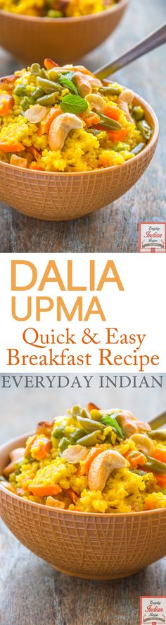 Dalia upma is an easy to make and extremely nutritious breakfast option which will keep you energetic throughout the day due to its high fibre content. #Dalia #DaliaUpma #Upma #Bulgur #BulgurWheat #Breakfast #BreakfastRecipes #IndianBreakfastRecipes #IndianRecipes #IndianFood #EverydayIndianRecipes #HealthyFood #HealthyRecipes
