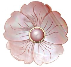 14K Yellow Gold Mother of Pearl Flower with Mabe Pin - ROSE