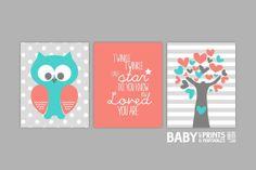 Baby Girl Nursery art Set of 3 8x10. Owl Twinkle by babyartprints, $33.00