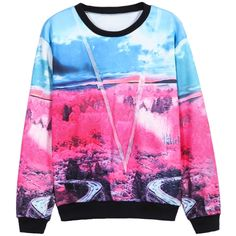 SheIn(sheinside) Blue Red Long Sleeve Sky Forest Print Sweatshirt ($16) ❤ liked on Polyvore featuring tops, hoodies, sweatshirts, shirts, sweaters, sweatshirt, multicolor, long sleeve hoodie, pink long sleeve shirt and long sleeve tops