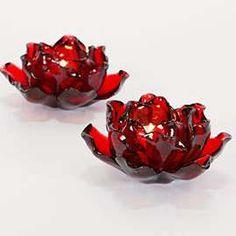 Red Flower Tea light Holder - made from plastic bottles