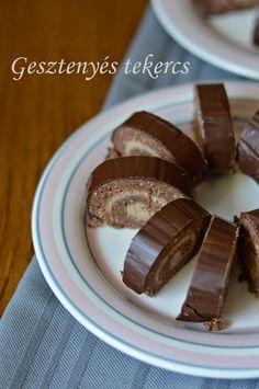 Gesztenyés tekercs Kari, Cereal, Candy, Chocolate, Breakfast, Recipes, Food, Morning Coffee, Chocolates