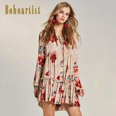 6c5818cc0f7 Bohoartist Women Boho Pleated Dress 2017 Floral Print Hollow Flare Sleeve  Straps V Neck Ladies Elegant
