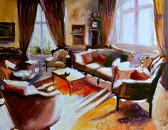 FRENCH INTERIOR, painting by artist CECILIA ROSSLEE