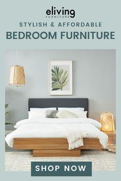 Affordable Bed Frames, Affordable Bedding, Living Furniture, Bedroom Furniture, Masculine Living Rooms, Diy Rustic Decor, Stylish Beds, Bed Base, New Home Designs