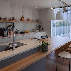 Kitchen Room Design, Luxury Kitchen Design, Kitchen Dinning, Interior Design Kitchen, Bedroom Minimalist, Interior Design Minimalist, Japanese Interior Design, Japanese Kitchen, Concrete Kitchen