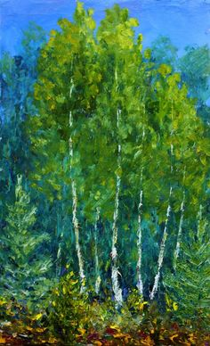 Painting palette knife: Glade of beautiful trees by wwwrybakowcom on DeviantArt Summer Landscape, Forest Landscape, Oil Painting For Sale, Paintings For Sale, Wall Art Prints, Canvas Prints, Framed Prints, Spring Pictures, Spring Art