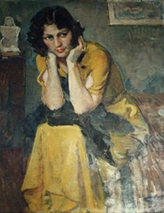 """İbrahim Çallı'nın yaptığı """"Cahide"""" adlı tablo, 1935. Cahide Tamer Arşivi"""