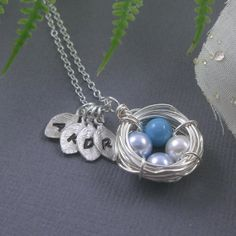 Easter eggs bird nest sterling silver personalized hand stamped initial necklace #2014 #easter #egg #necklace www.loveitsomuch.com
