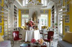 yellow library in NY home ~ Thomas Britt design