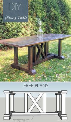 Farmhouse Dining Room Table, Diy Dining Table, Dinning Room Tables, Diy Kitchen Tables, Entryway Tables, Dining Rooms, Diy Furniture Decor, Diy Furniture Plans Wood Projects, Diy Home Decor