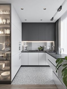 Modern Kitchen Interior These minimalist kitchen ideas are equal components calm and trendy. Find the very best concepts for your minimalist style kitchen that matches your taste. Search for impressive images of minimalist design kitchen for inspiration. Kitchen Room Design, Luxury Kitchen Design, Kitchen Cabinet Design, Home Decor Kitchen, Interior Design Kitchen, New Kitchen, Home Kitchens, Kitchen Ideas, Modern Kitchens
