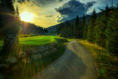 Sun Peaks, BC sunset over golf course field (HDR)