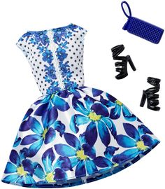 Amazon.com: Barbie Complete Look Fashion Pack, Blue Floral Gown: Toys & Games