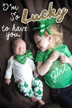 St. Patrick's day photos. Newborn St. Patrick's day photos.