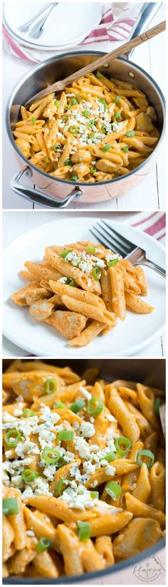 One Pan Buffalo Chicken Pasta is an easy meal that the entire family will love! Chicken, pasta, buffalo sauce and blue cheese dressing combine to create a dish loaded with buffalo chicken flavor.
