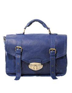 Enlarge ASOS Leather Cobalt Blue Twist Lock Vintage Style Satchel