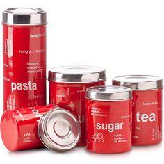 Conjunto Potes Inox Vermelho - 5 peças - Importado