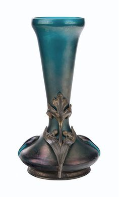 Art nouveau iridescent glass and bronze mounted vase - c.1900.