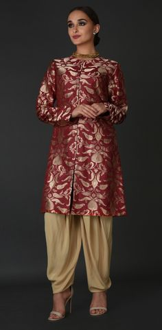 Red Banarasi Jamawar Zari Pure Silk Jacket With Dhoti Pants