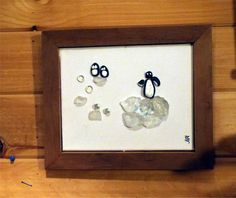 """Rock, Pebble & Sea Glass"" with solid ""Walnut"" Frame By: Alida Martinez Urraca -Ali- -All the rocks and driftwood for my artwork come from ""Seneca Lake, NY-  http://hacedoradeilusiones.blogspot.com/"