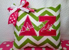 Delta Zeta Sorority Pillow Cover in Green Chevron with Pink Greek Letters | eBay