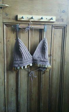 Crochet bralet top coffee brown boho festival clothing coins vest cropped strap Dolly Topsy Etsy UK Dolly Topsy Etsy UK