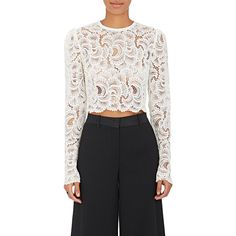 A.L.C. Women's Talia Guipure Lace Crop Top ($375) ❤ liked on Polyvore featuring tops, white, long sleeve lace top, white crop top, a.l.c top, white top and lace top